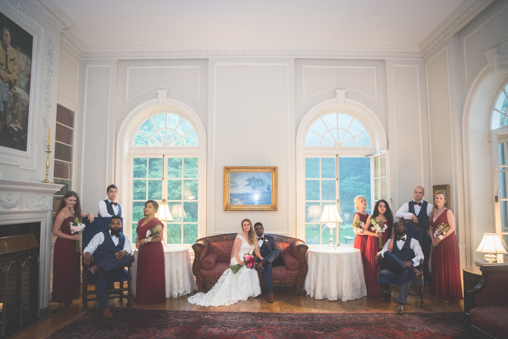 strong mansion wedding party photo