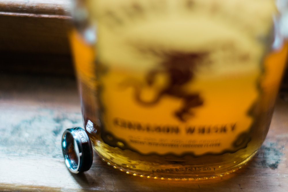 groom ring with fireball whiskey photo