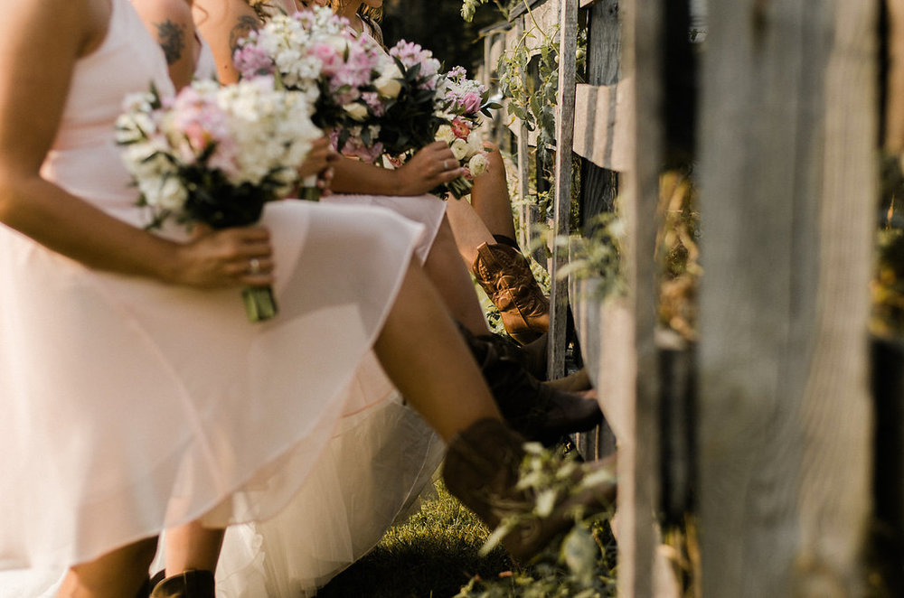 bridesmaids cowgirl boots country wedding photo