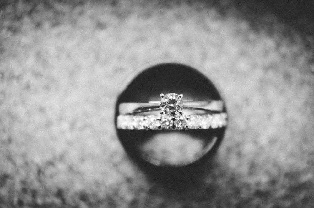 engagement and wedding ring photo