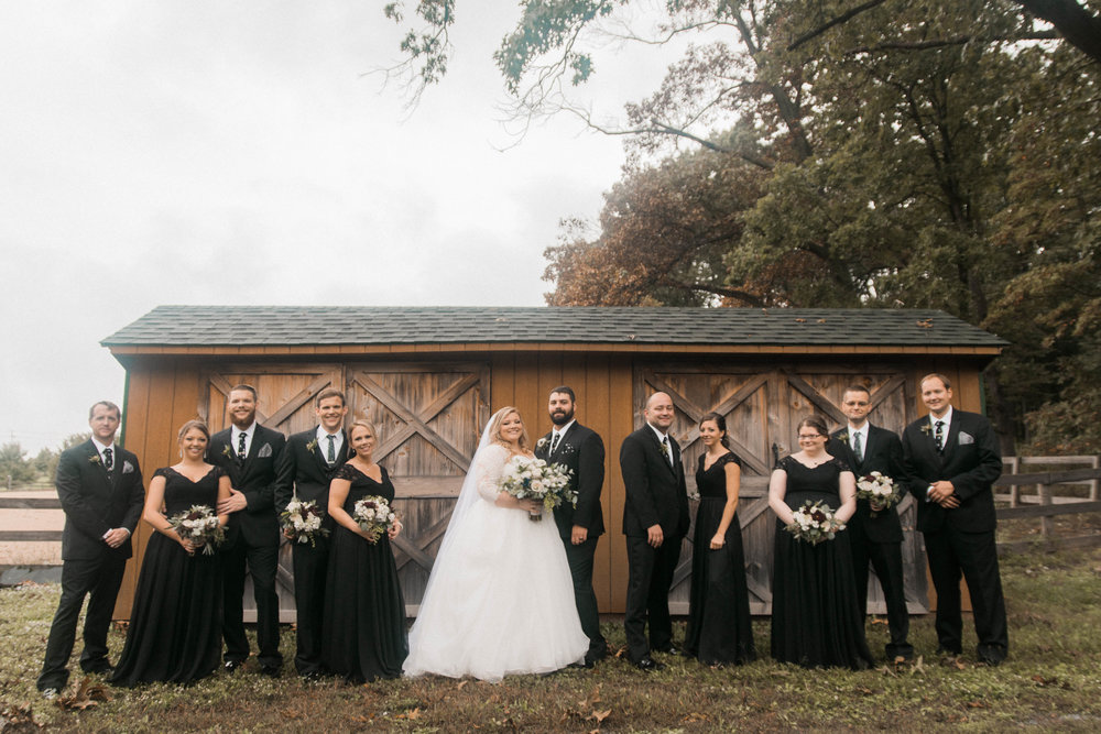 serra valley farms rustic wedding party photo