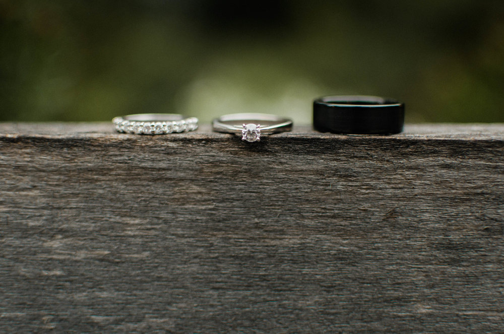 wedding ring on rustic reclaimed wood photo