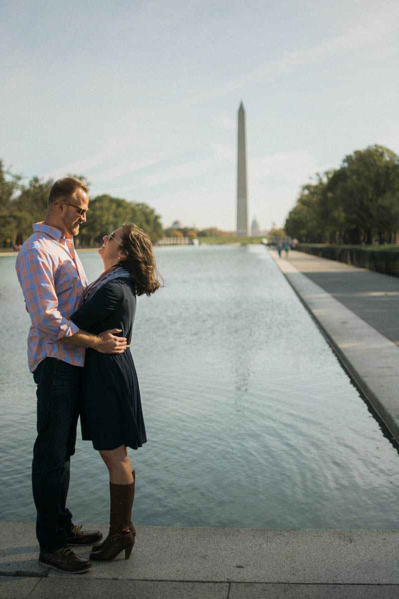 Reflecting Pool Washington DC Engagement Session Photo