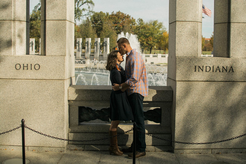 WWII Memorial Washington DC fall Engagement Session Photo