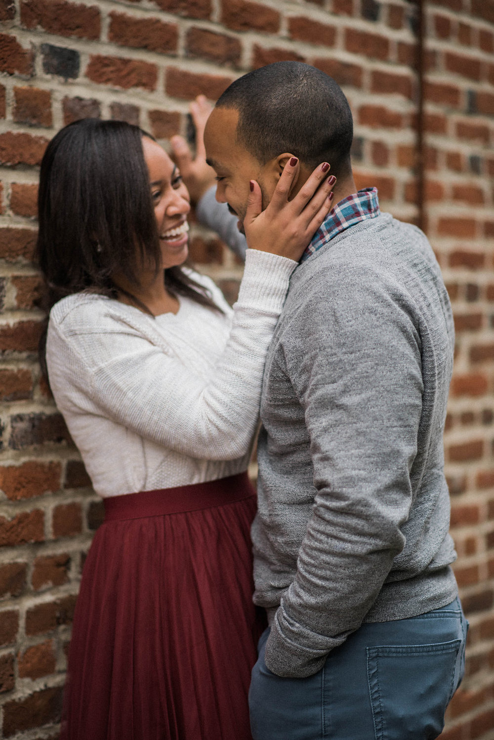 old town leesburg happy engagement photo