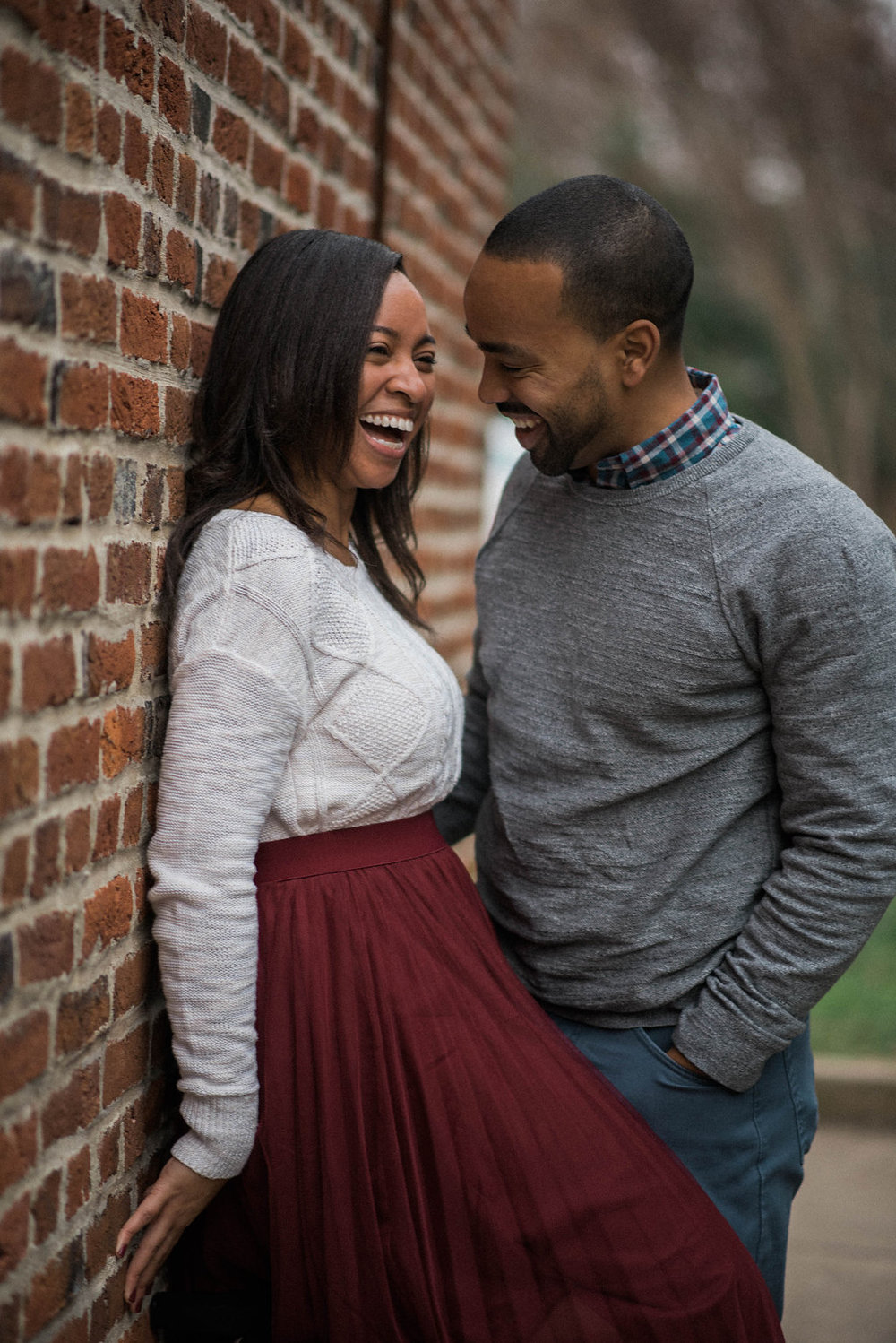 old town leesburg fun engagement photo