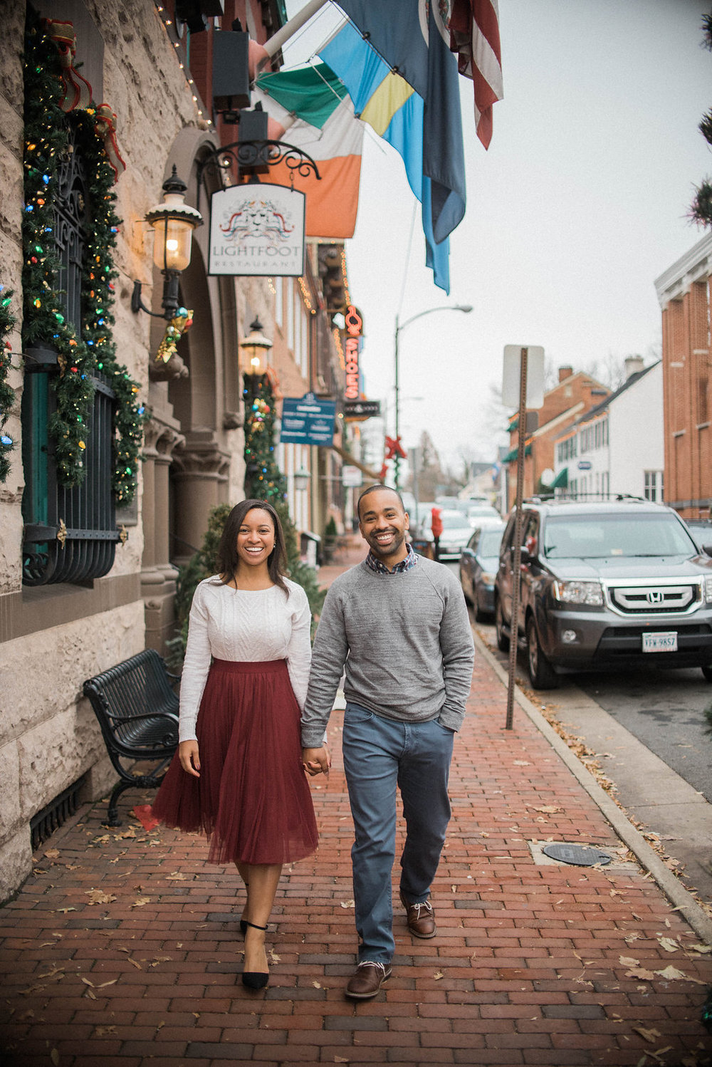 old town leesburg cute engaged couple photo