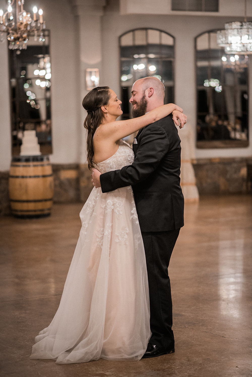 bride and groom first dance at stone tower wedding photo