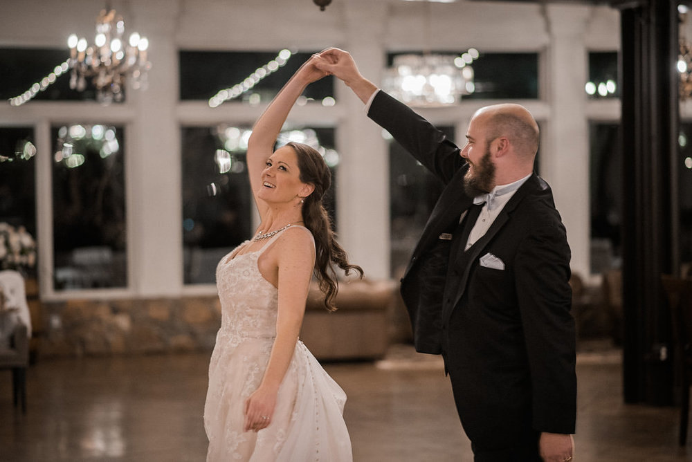 bride and groom first dance at stone tower winery photo