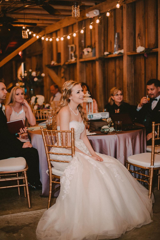 Bride sitting at table at wedding