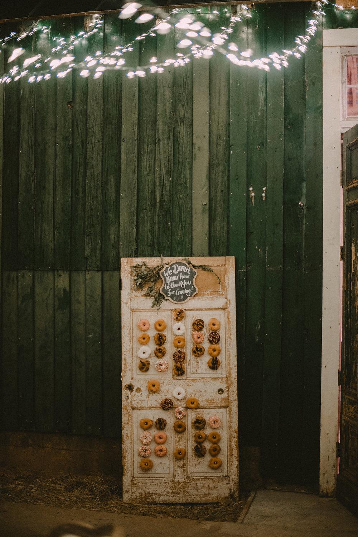 donuts on vintage door at wedding photo