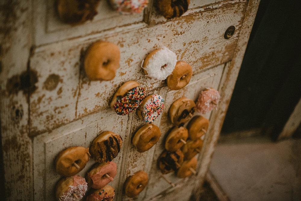 wedding donuts on vintage door photo