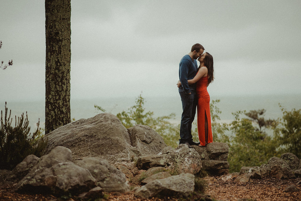 Couple kissing on mountaintop
