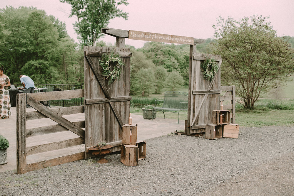rustic wedding ceremony decor photo
