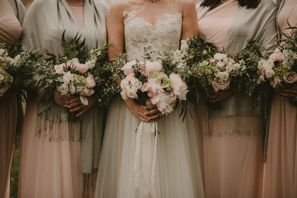 Brides bouquets up close