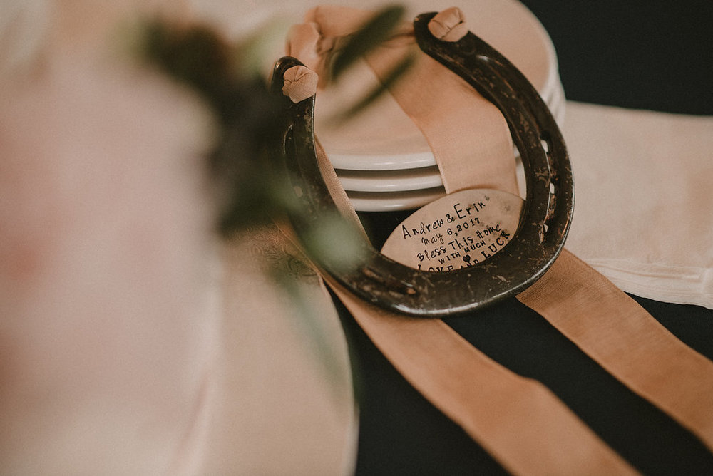 Horseshoe accent at derby wedding