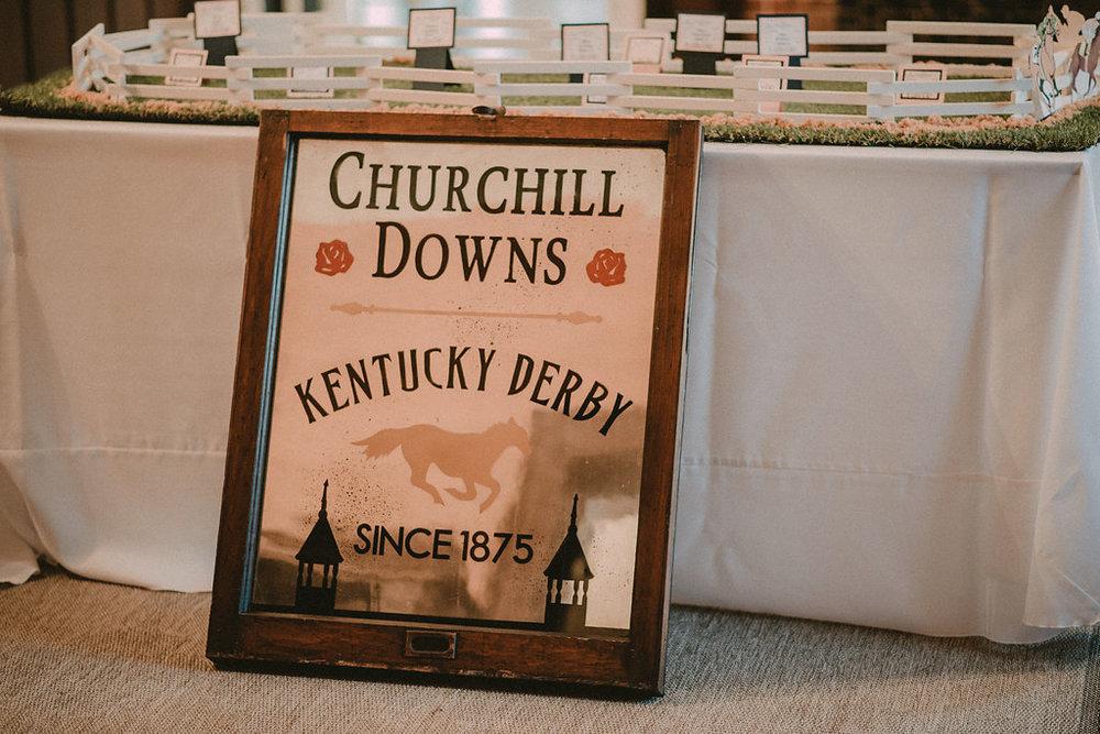 Churchill Downs Kentucky Derby sign for wedding