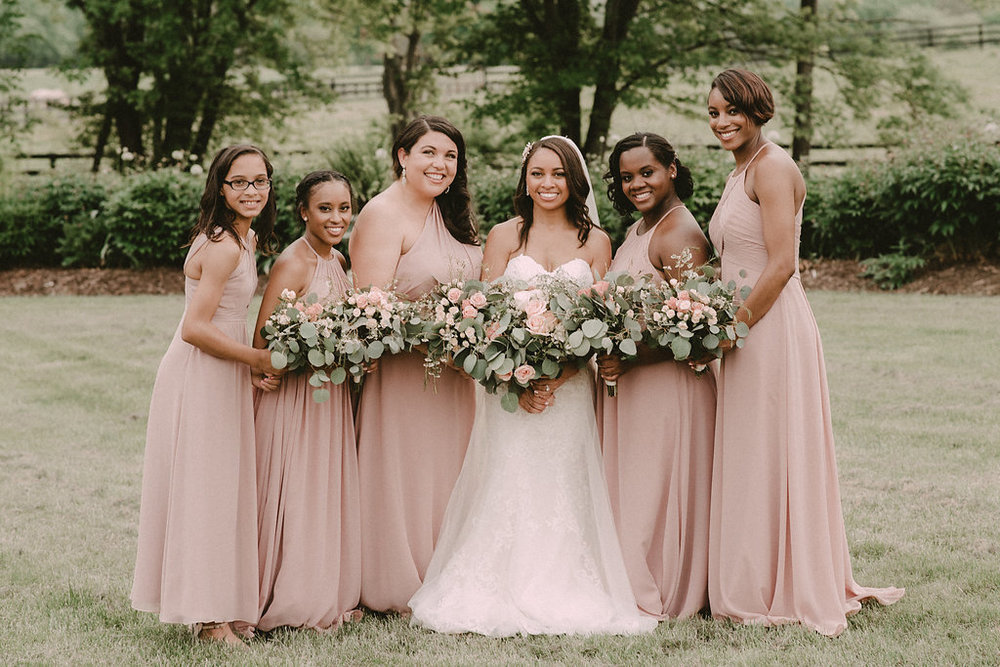 bride with bridesmaids portrait