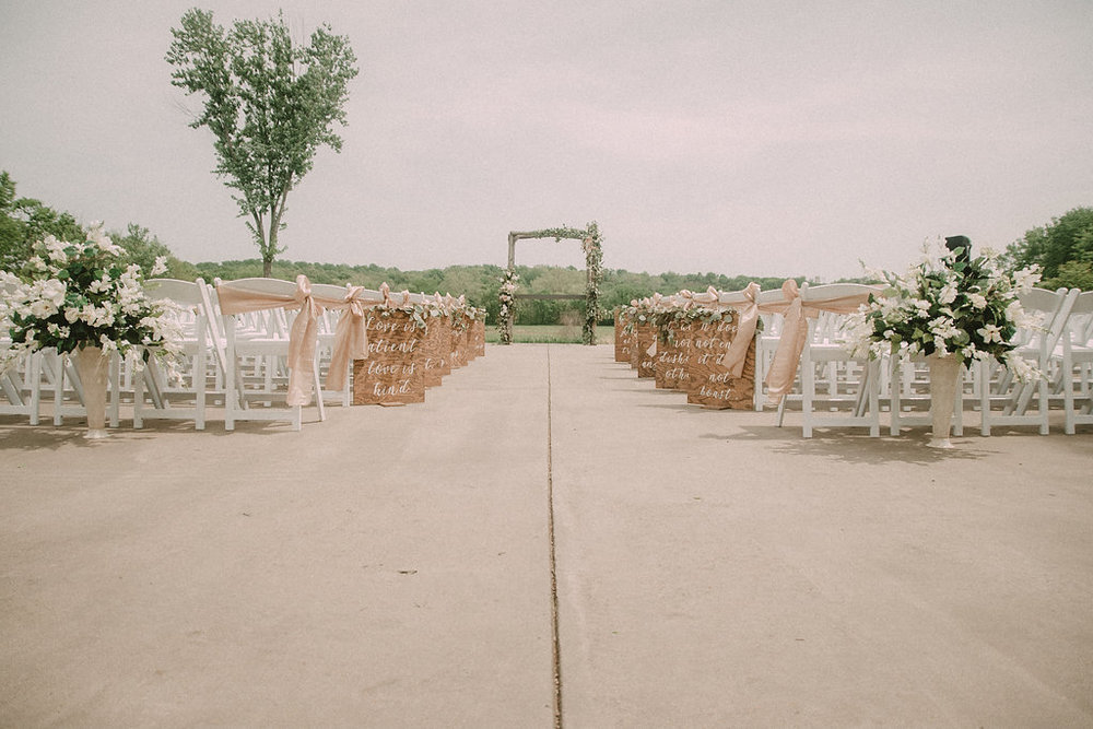 rustic bohemian wedding ceremony details photo
