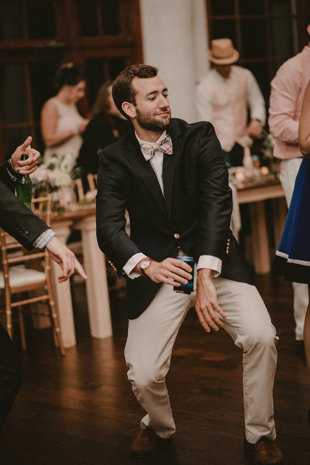 guest dancing at reception