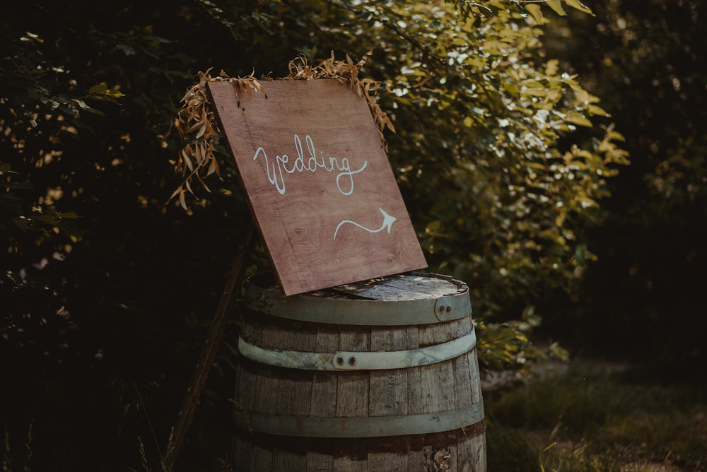 Wedding sign on barrel