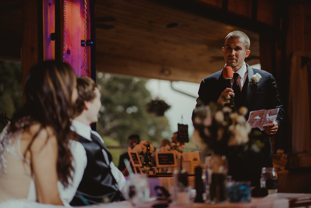 Groomsmen giving toast