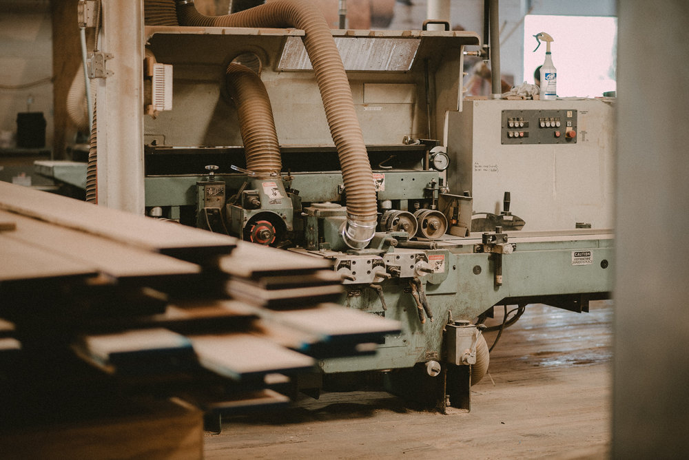 Lumber and machinery in a workshop