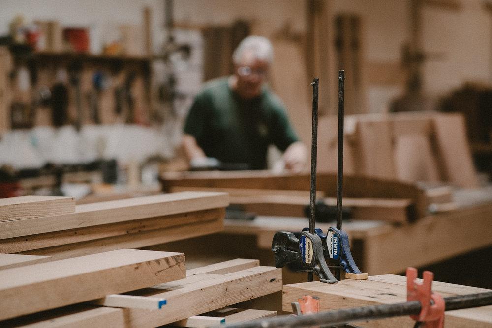 Man working in wood workshop