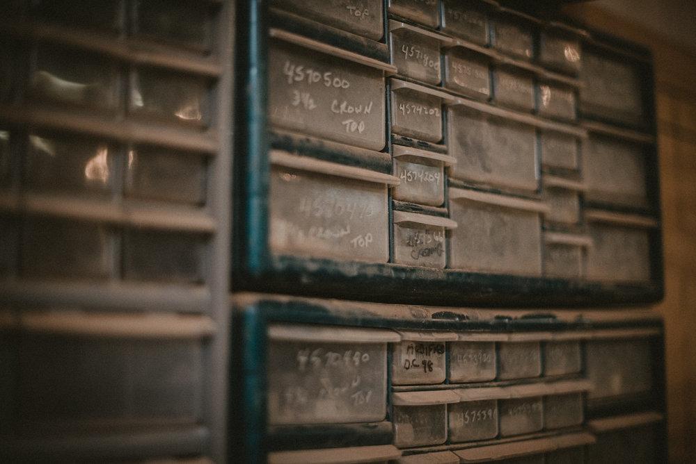 Shelves in a workshop