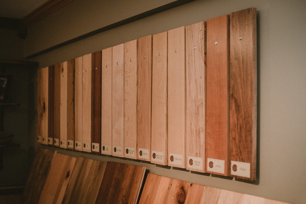 Wood samples on wall