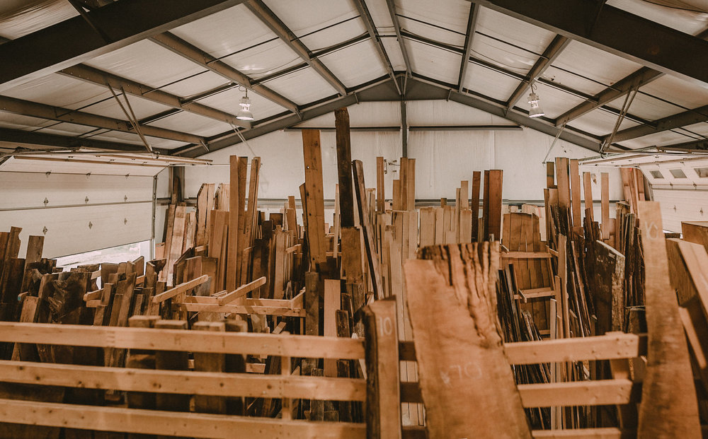 Wood stacked up in storage