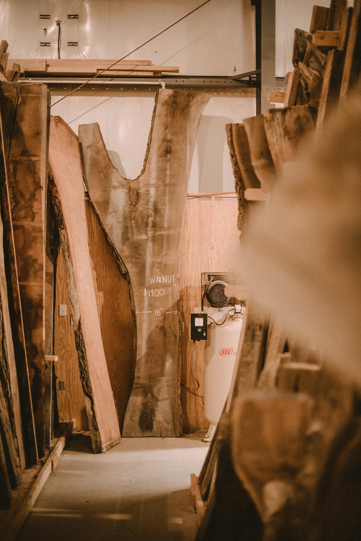 Wood piled in storage