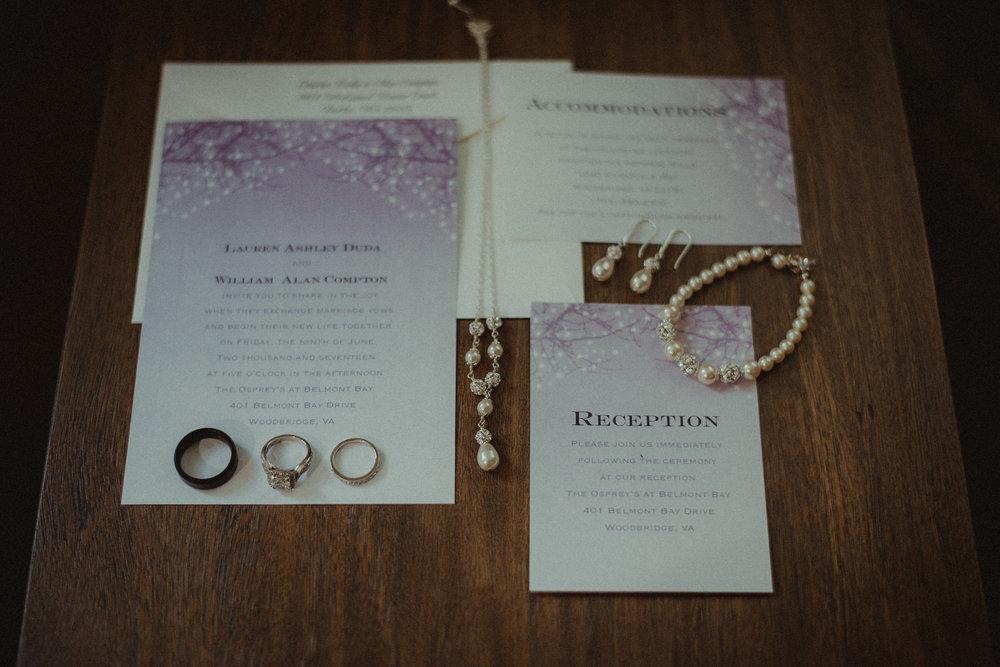 Wedding invitation and jewelry
