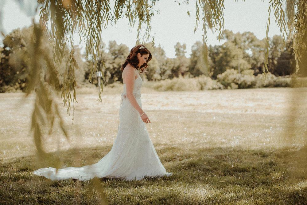 Bride walking toward groom