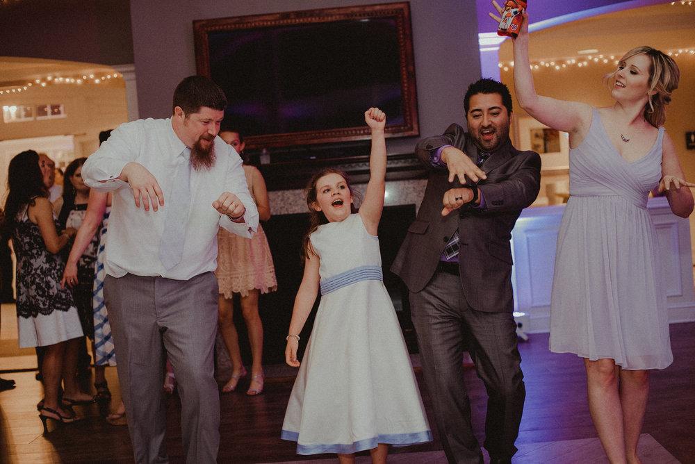 Bridal guests dancing at wedding