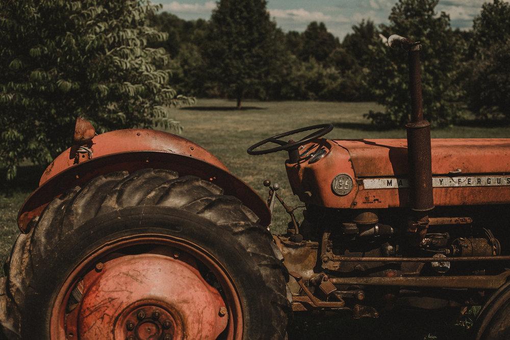 Vintage tractor on farm