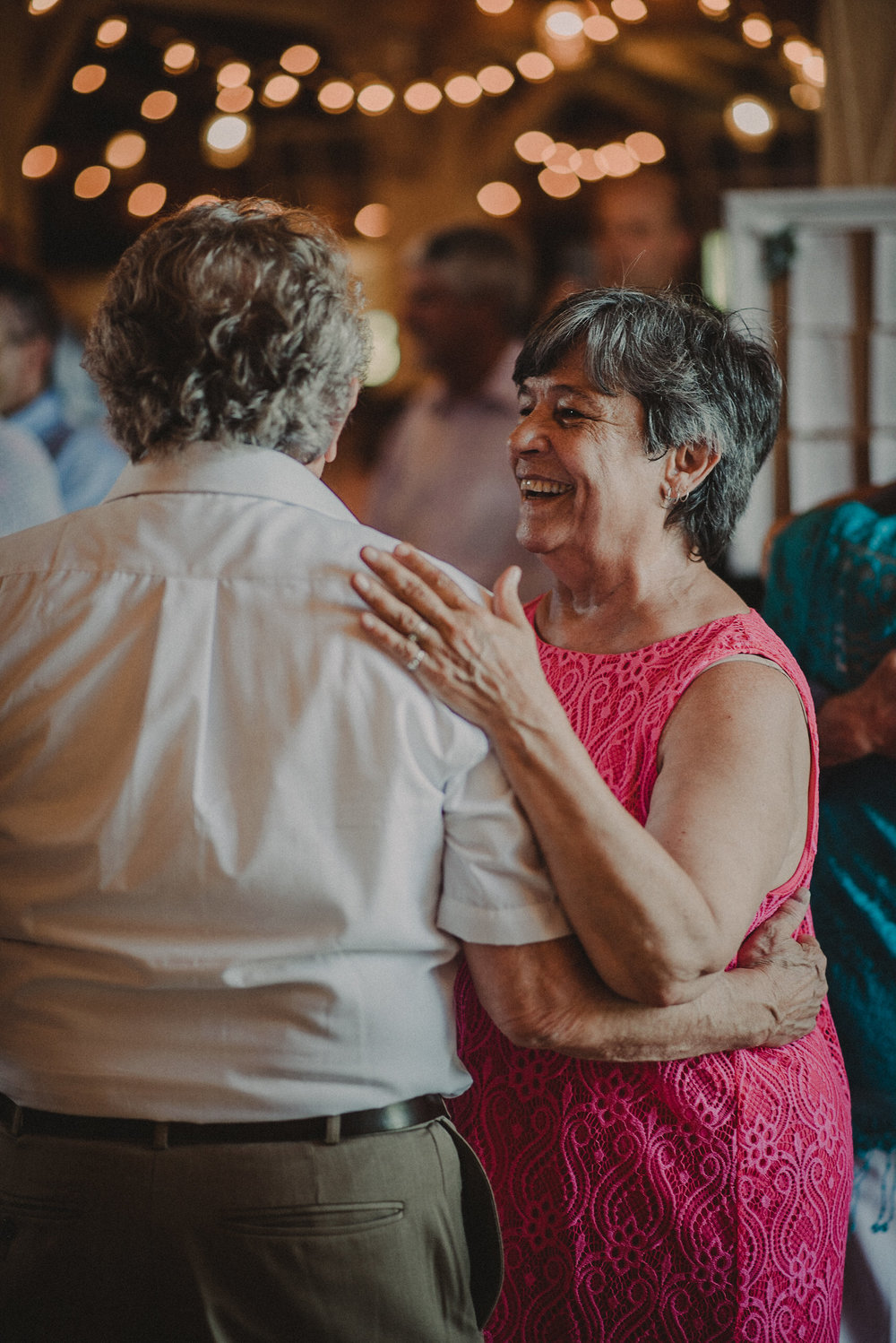 Guests dancing at weding reception