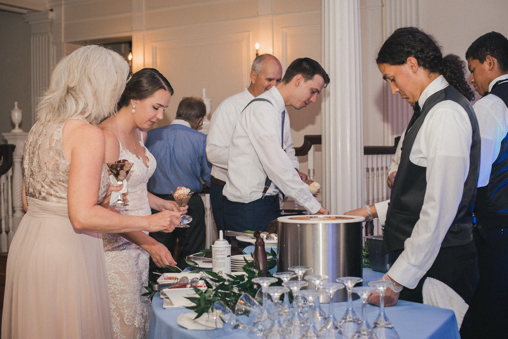 Ice cream bar at wedding