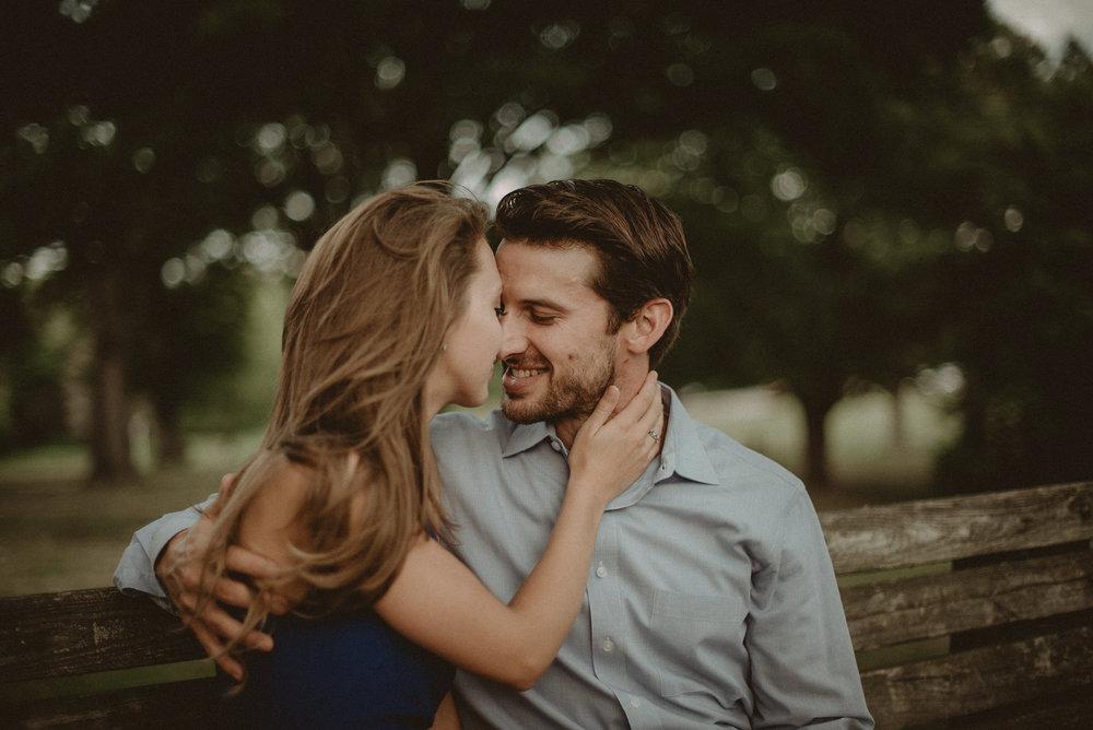 Woman touching man's face
