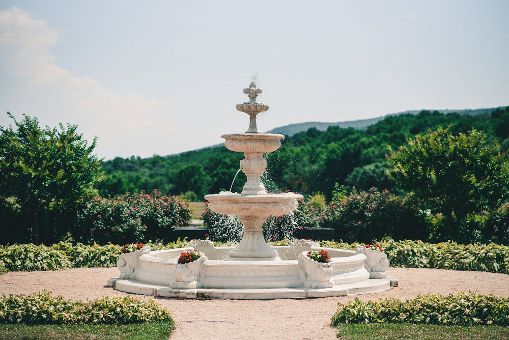 Fountain with mountains