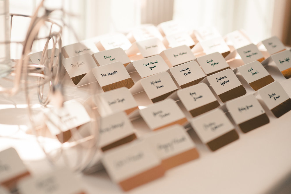 Name cards at wedding reception