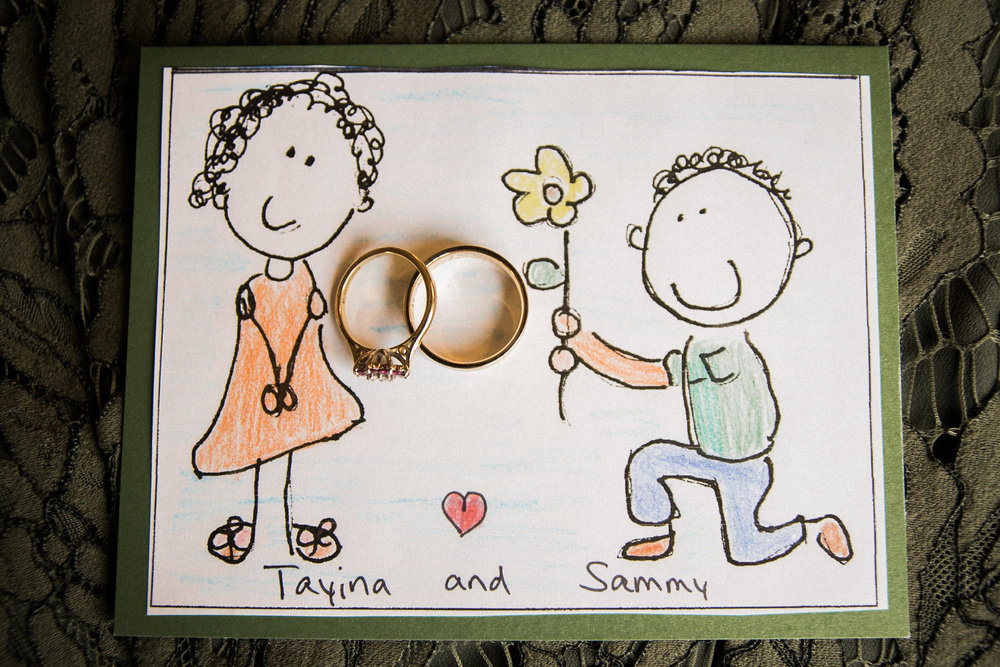 Wedding rings and handrawn card