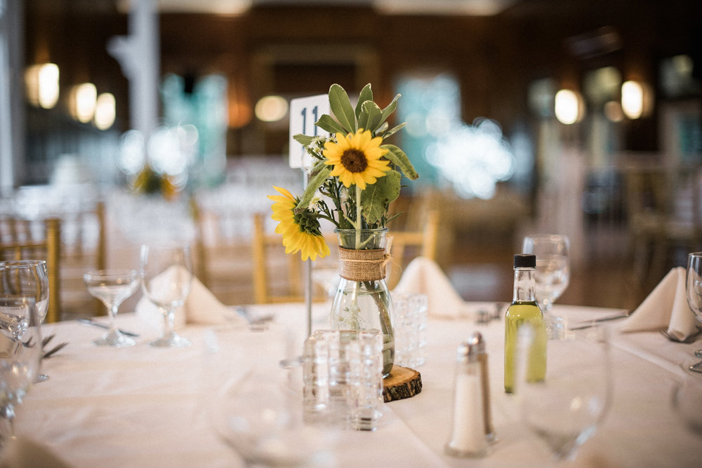 Sunflowers on wedding table