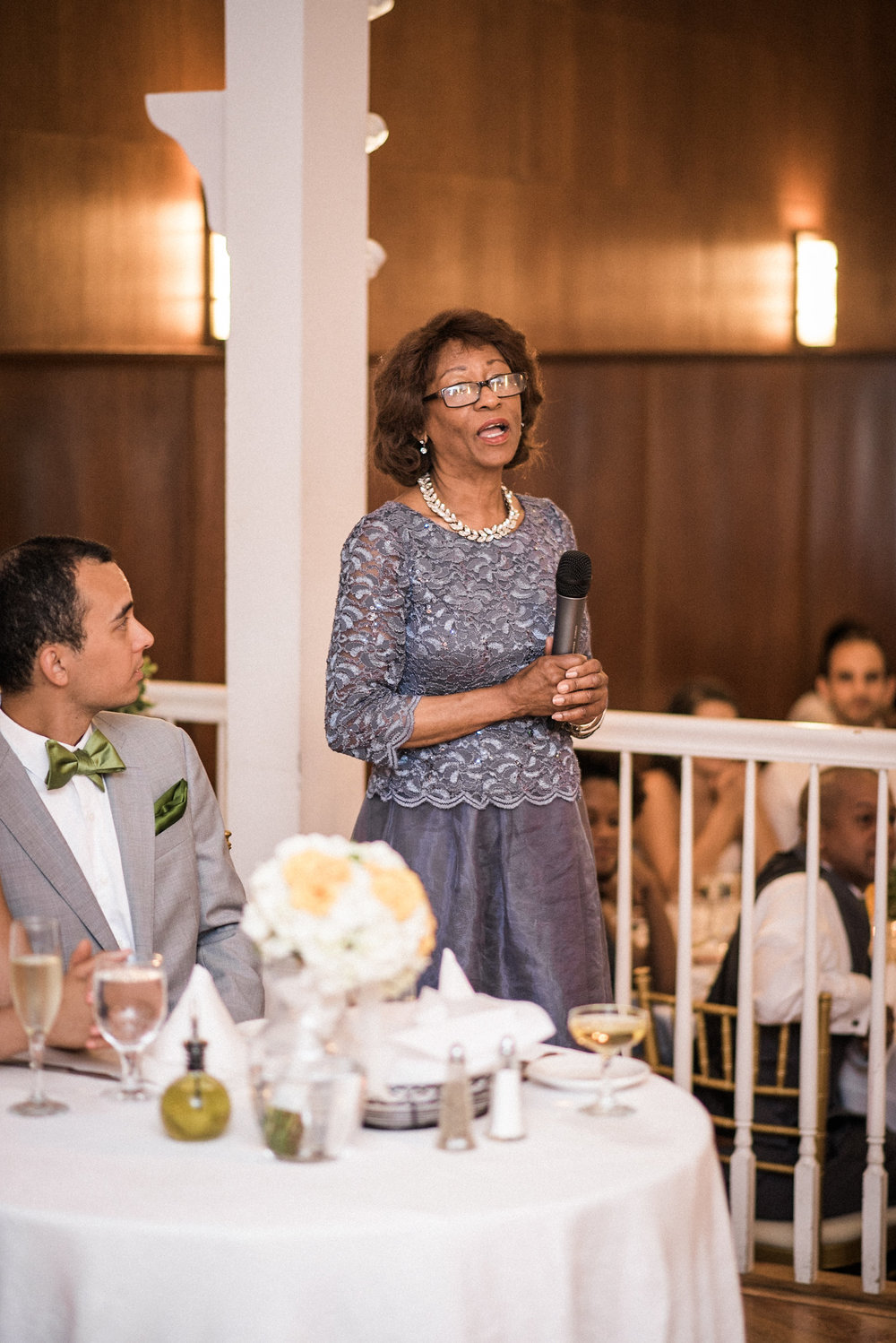 Mother making speech at wedding
