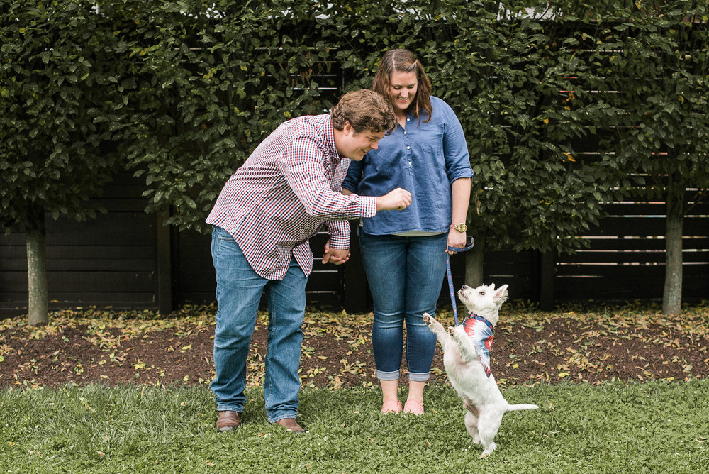 Couple giving dog a treat