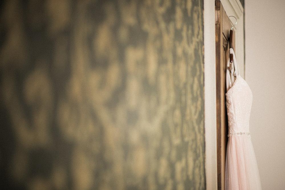 Dress hanging on a door