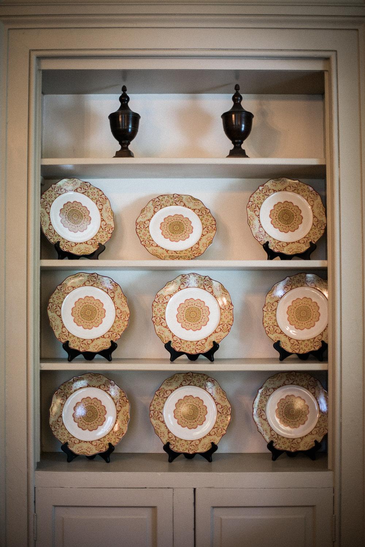 Vintage plates on display