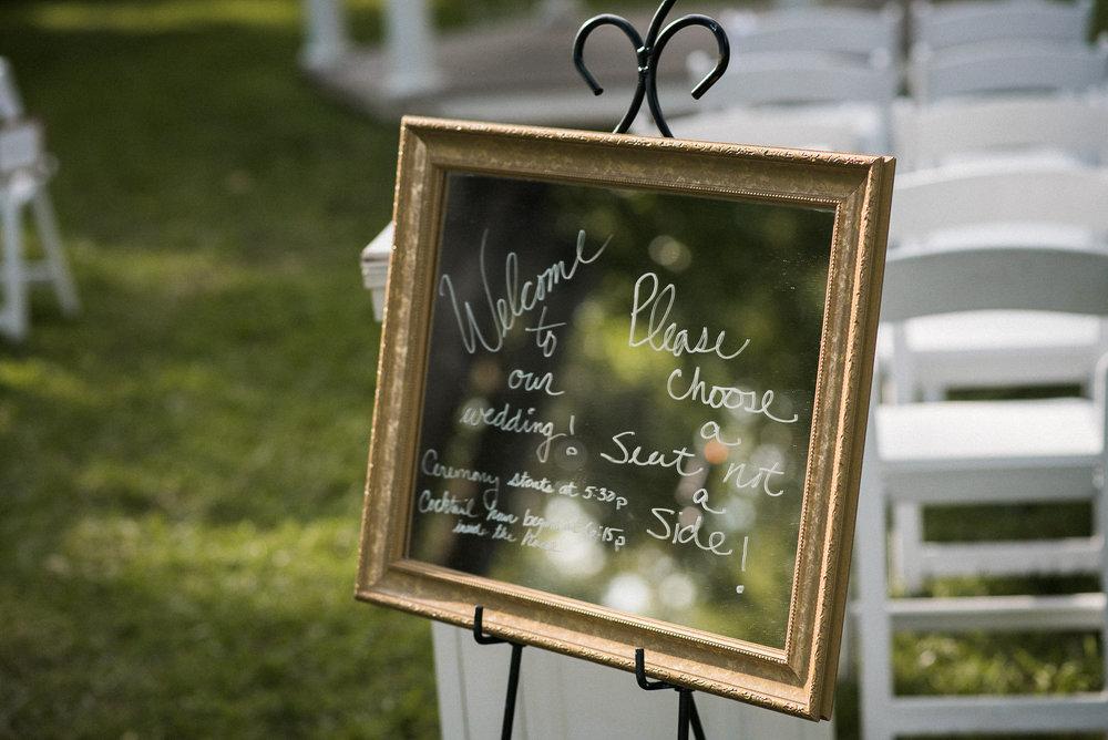 Wedding signage at ceremony