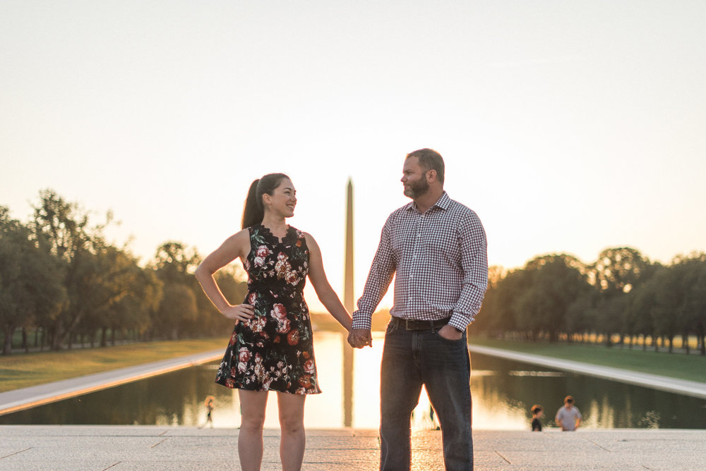 Couple standing in front of Washington Monument