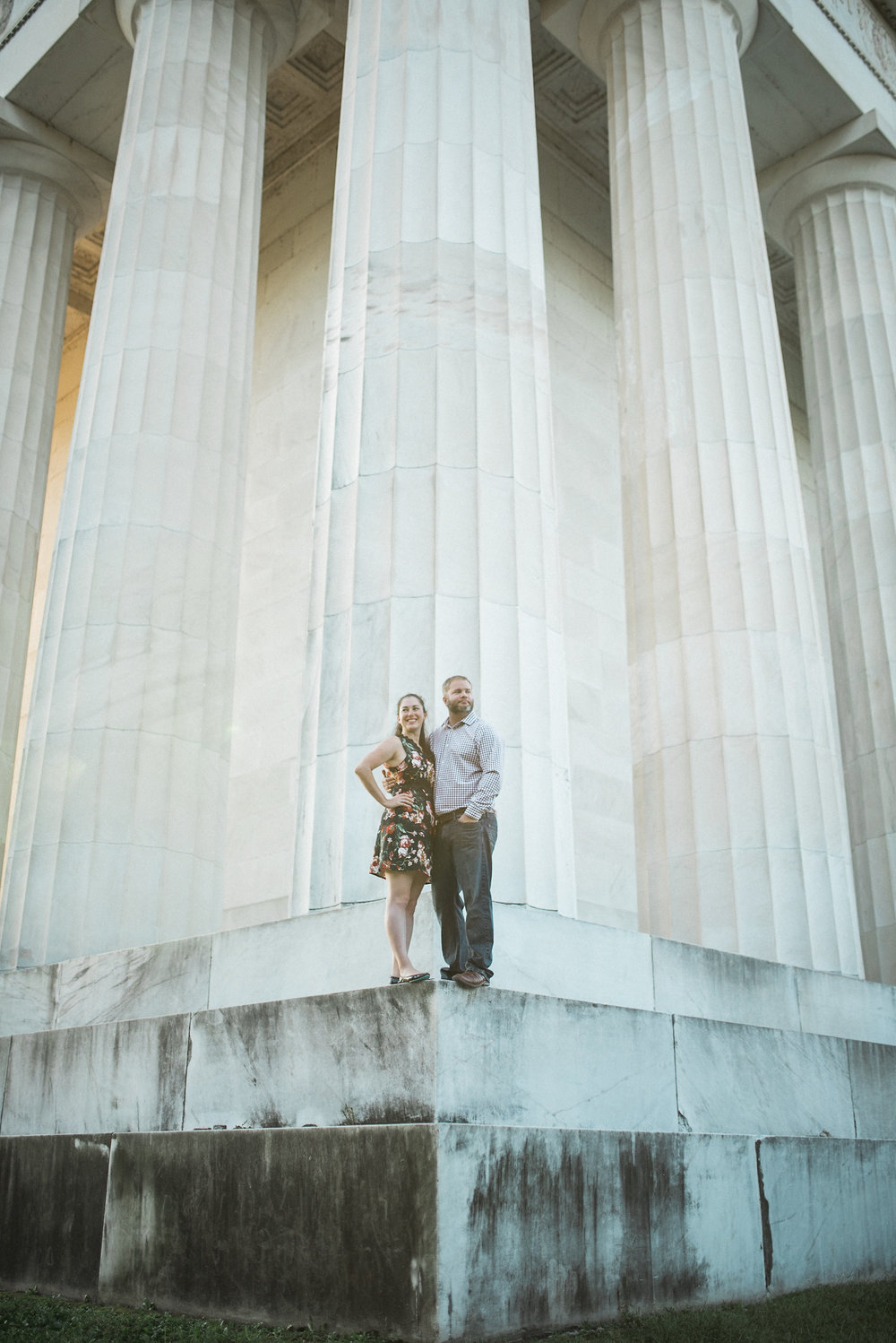 Couple standing on Lincoln Memorial
